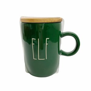 Rae Dunn ELF Coffee Tea Mug Wood Coaster Green